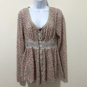 Free People Floral Babydoll Shirt w/Lace middle